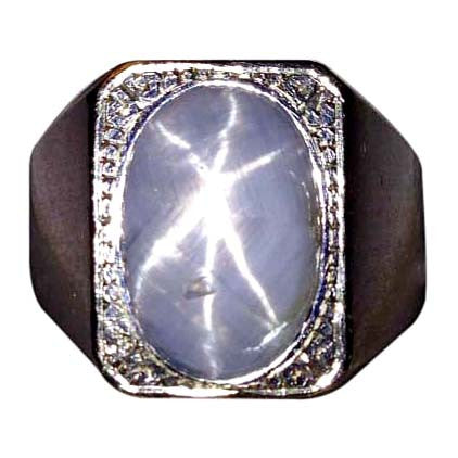 Men's 14K White Gold and Star Sapphire Ring