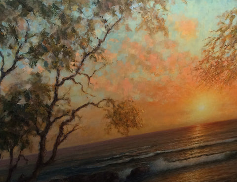 Hajime Okuda (American, 1906-1992), Sunset of Hawaii, oil on canvas, signed and dated 1974