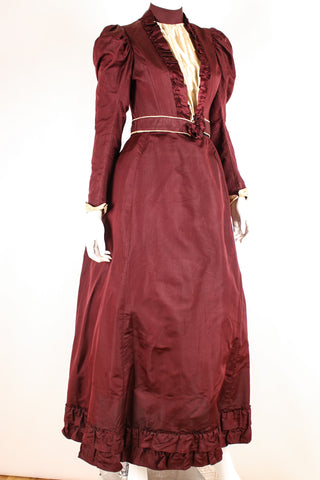 Victorian Red Satin and Cotton Dress, ca. 1890s