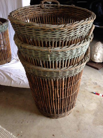 Seven French Wicker Champagne Baskets, late 19th/early 20th century