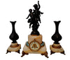 French Figural Marble and Copper Clock Garniture, ca. 1892