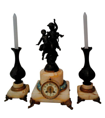French Figural Marble and Copper Clock Garniture