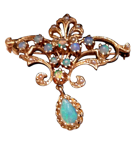 14K Gold, Opal and Seed Pearl Pendant Brooch