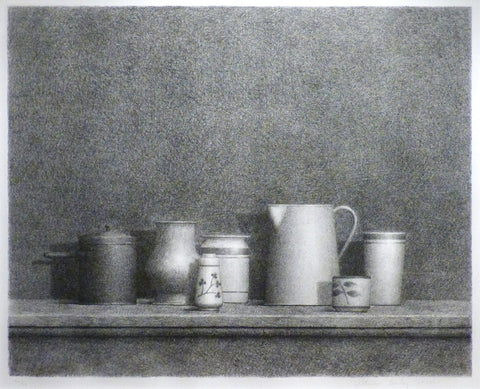 "William Bailey (American, b. 1930), ""Still Life with Bottles"", etching, signed and numbered 40/50, 20th century"
