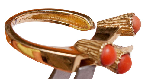 Ladies 14K Yellow Gold and Coral Ring, ca. 1965