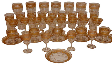 Set of French Gilt Decorated Clear Glass Stemware