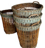 Seven French Wicker Champagne Baskets