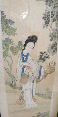 Two Chinese Scroll Paintings of Court Maidens, Ink and color on rice paper, ca. 1890-1920