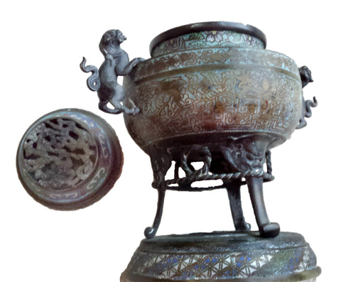Large Japanese Champlevé Enameled Bronze Censer, Meiji Period (1868-1912)