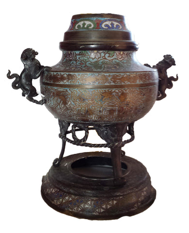 Large Japanese Champleve Enameled Bronze Censer