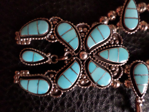 Zuni Silver and Turquoise Squash Blossom Necklace, ca. 1950-60