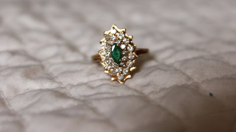14K Yellow Gold, Diamond and Emerald Cluster Ring, 20th century