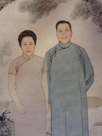 Lingjia Li (Chinese, 20th Century), Self-Portrait of Artist and Wife, 1965, ink and color, signed, dated, inscribed