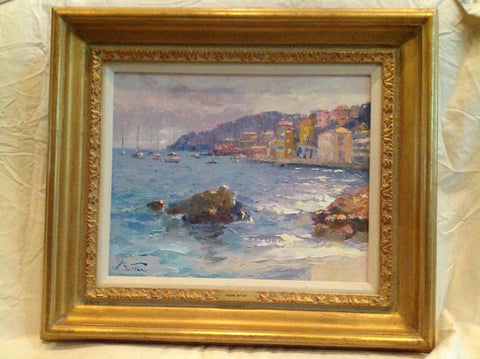 Pierre Bittar (French, b. 1934), Rocky Coast, oil on canvas, signed
