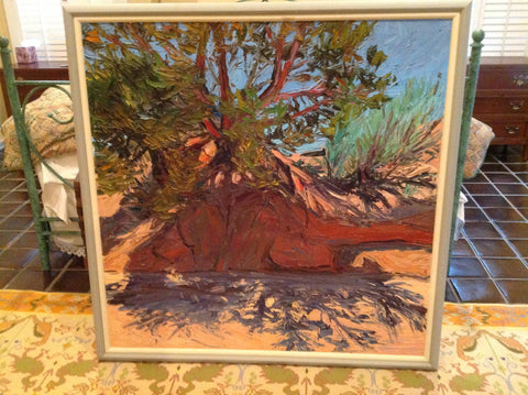 Louisa Redfield McElwain (American, 1953-2013), Southwest Landscape with Tree and Red Rocks, oil on canvas, signed