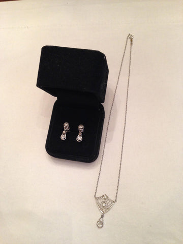 14K White Gold Diamond Necklace with Matching Earrings, 20th Century