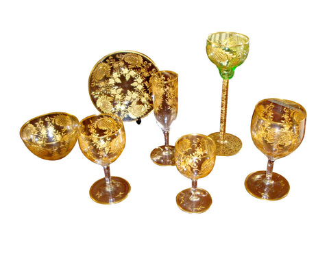 Group of Continental Gilt Glassware, probably Bavarian, early 20th century