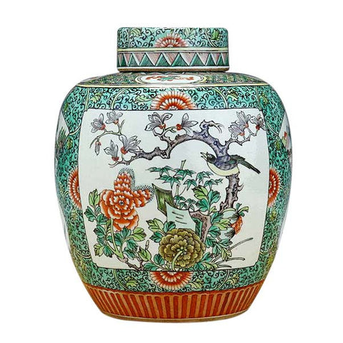 Chinese Famille Verte Porcelain Jar and Cover