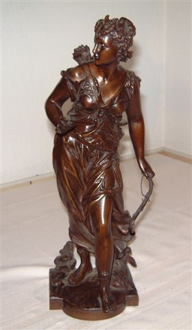 "After Eutrope Bouret (French, 1833-1906), ""Diana"", patinated bronze figural sculpture, signed in the cast"