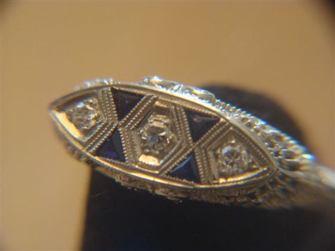 18K Gold, Diamond and Sapphire Ring, ca. 1930s