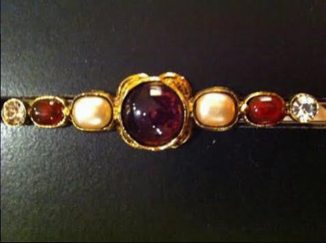 Chanel Byzantine-Style Gold-Plated and Glass Brooch, signed, mid-1980s