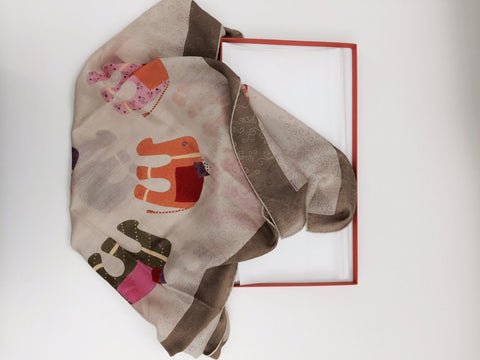 "Hermès ""African Elephants"" Silk and Cashmere Scarf, late 20th century"