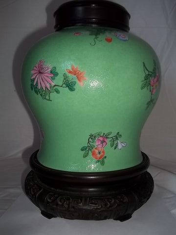Chinese Enamel Glazed Porcelain Ginger Jar, ca. 1875-1900, with wooden stand