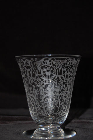 "French Etched Clear Glass Decanter and Barware Service, Baccarat, France, 1927-1970, in the ""Michaelangelo"" pattern, 41 pieces"