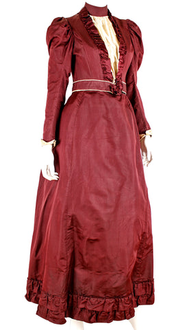 Victorian Red Satin and Cotton Dress