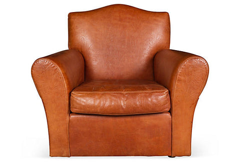 Ralph Lauren Embossed Leather Club Chair