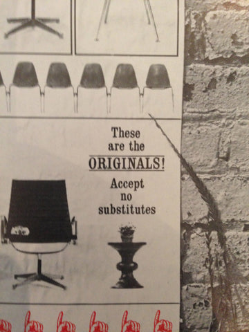 "Test Print Ad for Herman Miller Eames Chair, ""Beware of Imitations"", designed by Deborah Sussman, late 1960s"