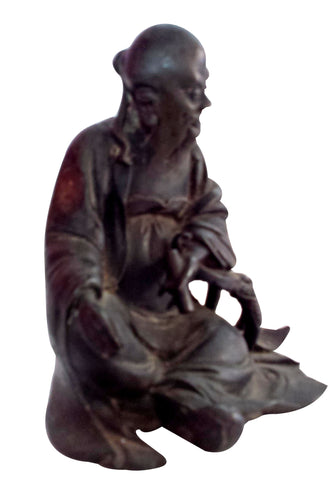 Chinese Patinated Bronze Figure of a Seated Lohan