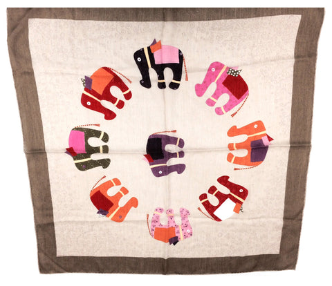 "Hermes ""African Elephants"" Silk and Cashmere Scarf"