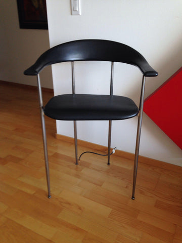 Set of Seven Italian Fasem Style Steel Chairs, after a design by Giancarlo Vegni, 20th century