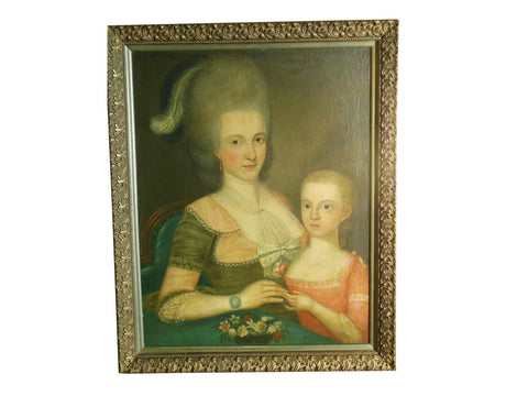 Manner of Ralph Earl (American, 1751-1801), Portrait of Mother and Child, late 18th century, oil on canvas