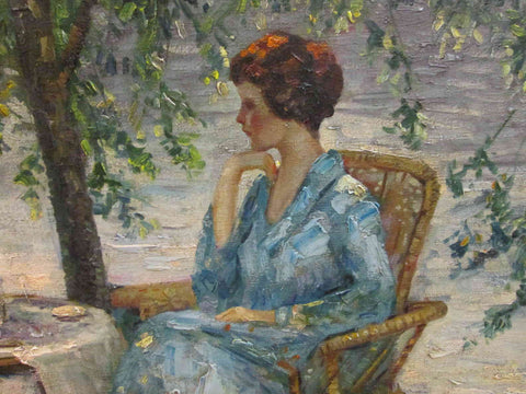 Edward Cucuel (American, 1875-1954, Woman in a Blue Dress, first half 20th century