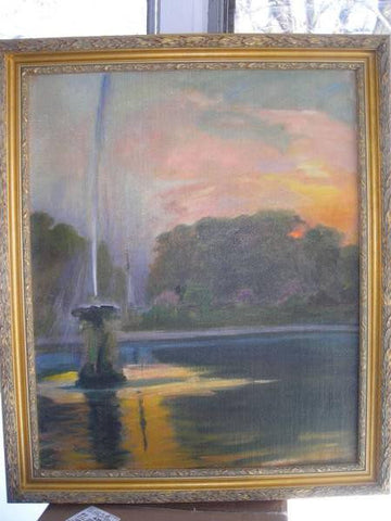 Marie Eristoff-Kazak (Russian, 1857-1934), Parisian Fountain, oil on canvas, signed, ca. 1911