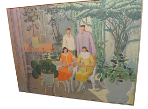 Antonio Lopez Saenz (Mexican, b. 1937), Two Couples in a Conservatory, oil on canvas, signed and dated 1992