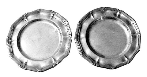 Pair of  French Maison Odiot Silver Dinner Plates
