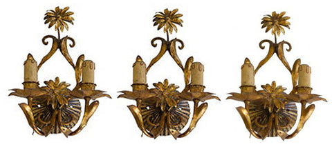 Set of Three Gilt-Metal Two-Light Wall Sconces