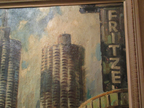 John Nachorny (American, 1908-1989), Marina Towers, Chicago, Illinois, oil on canvas, signed and dated 1970