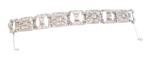 Art Deco Style Platinum and Diamond Strap Bracelet