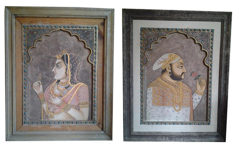 Pair of Indian Embellished Paintings Portraits of a Royal Couple, 20th century, oil on board with raised gilt detail
