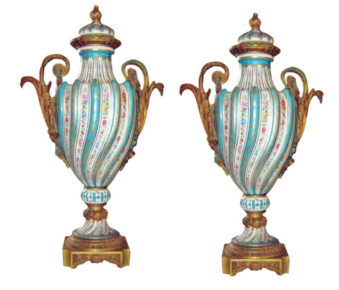 Pair of Ormolu Mounted Sevres Style Porcelain Urns