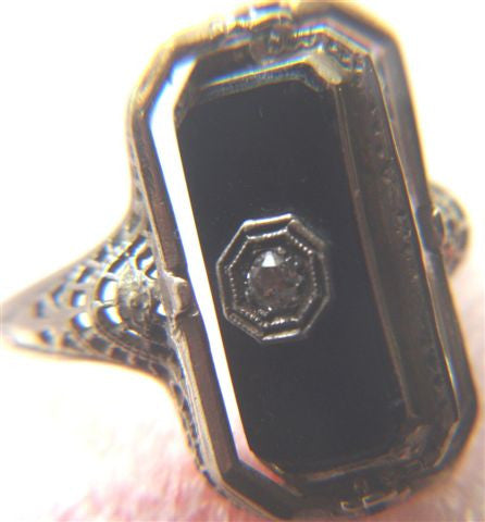 14K Gold, Onyx and Diamond Flip Ring, ca. 1930s