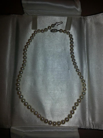 Mikimoto Pearl Choker, with 14K white gold clasp,  20th century