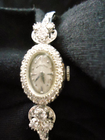 Ladies 14K White Gold and Diamond Dress Watch, Hamilton Watch Company, Lancaster, Pa., ca. mid-20th century