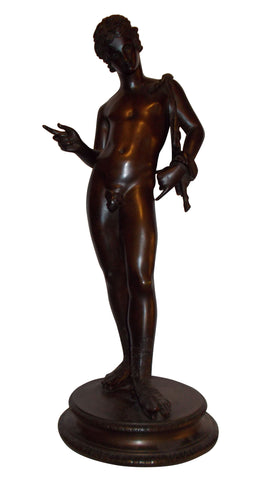 Belgian Bronze Figure of Narcissus, after the antique excavated in Pompeii, with foundry mark of H. Luppens, Bruxelles