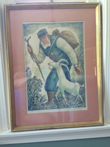 "Chaim Goldberg (Polish/American, 1917-2004), ""Shepherd"", lithograph in colors, signed in pencil lower right, artist's proof"