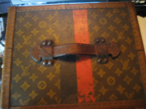 "Louis Vuitton Monogram Leather Hat Trunk, early 20th century, with ""L"" monogram"